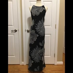 Maggy London Grey floral Maxi dress Size 12